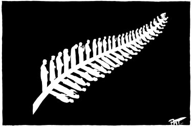 Pat Campbell''s moving cartoon depicting 50 Muslims in various stages of prayer, representing the 50 victims of the Christchurch massacre.