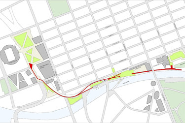 The proposed route of the Melbourne High Line.