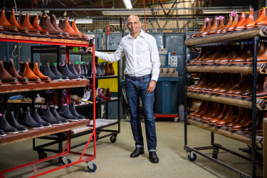 Sales of footwear are down: RM Williams CEO Raju Vuppalapati at the RM Williams factory.