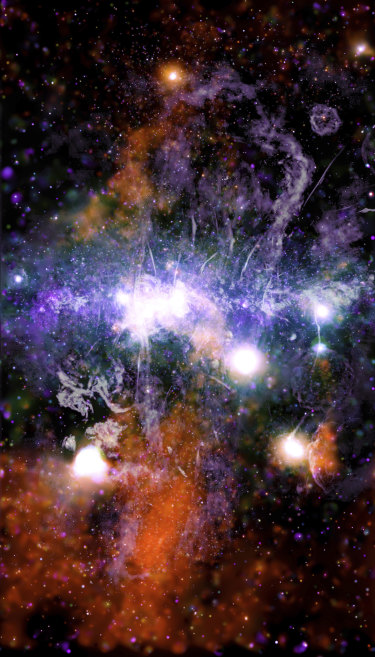 This false-colour X-ray and radio frequency image shows threads of superheated gas and magnetic fields at the centre of the Milky Way.
