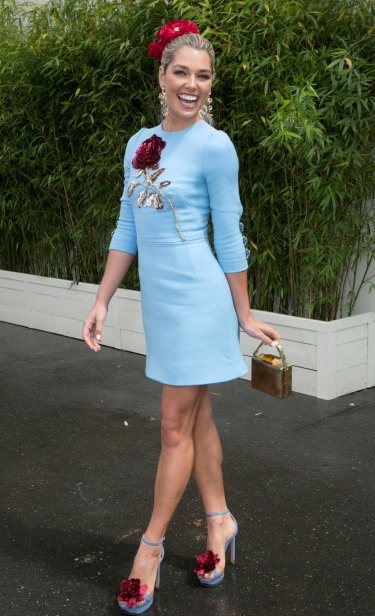 Ash Hart at the Swisse marquee on Oaks Day.