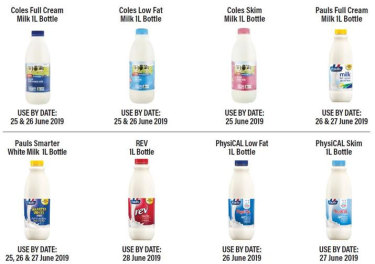 A major dairy company has recalled Pauls and Coles branded products amid fears they may contain cleaning solution.