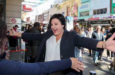 The new Labor leader Jodi McKay in Burwood meeting her local supporters on Sunday.