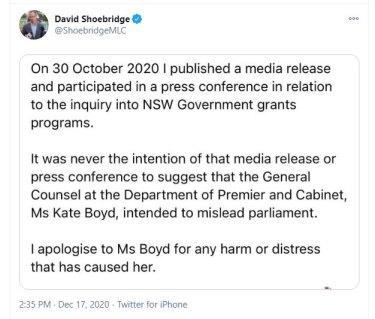 David Shoebridge's tweet.