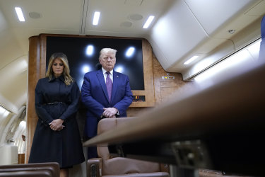 President Donald Trump and first lady Melania Trump pause for a moment of silence on Air Force One on his way to speak at the Flight 93 National Memorial in Shanksville Pennsylvania.