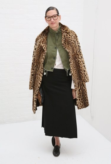 Creative director Jenna Lyons mixes her military with leopard print.