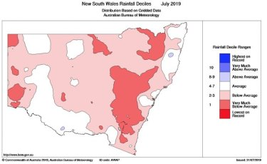 July was an exceptionally dry month in the majority of NSW.
