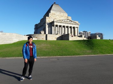 International student Tun Xiang Foo at the Shrine of Remembrance in Melbourne.