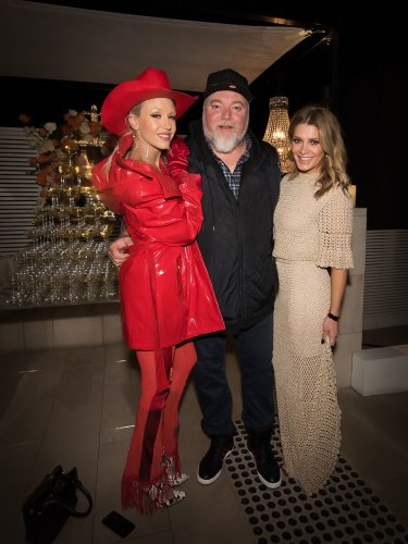 Imogen Anthony and Kyle Sandilands on the Sydney cocktail circuit with Natalie Bassingthwaighte in 2017.