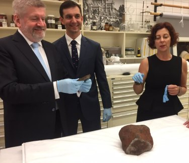 Federal senator Mitch Fifield, Brisbane federal MP Trevor Evans with Queensland's Assistant Minister of State Jennifer Howard at Queensland Museum.