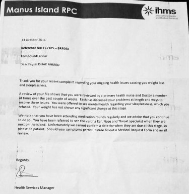 A letter sent to Faysal Ahmed from IHMS.