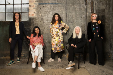 From left, SHEILA board member and Griffith University Art Museum director Angela Goddard, artist Nasim Nasir, Countess' Miranda Samuels, gallery owner Roslyn Oxley, and National Association for the Visual Arts general manager Penelope Benton at Sydney Contemporary at Carriageworks.