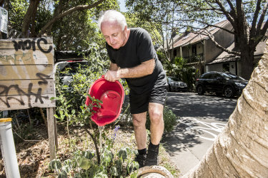 Michael Mobbs is an organiser of the Chippendale footpath garden. He uses grey water to keep the fruit trees alive along with many other water saving ways.