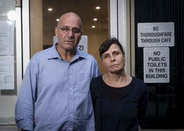 """Luigi Coluzzi and wife Tatjana want out of the """"warzone"""" that has engulfed their Bar Coluzzi on Kent Street."""