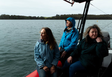 Conservationists Fiona McCuaig, Bill Barker and Lynne Griffiths, on an inlet near Narooma, where changes have been made to the region's marine sanctuaries, opening them up to recreational fishing.