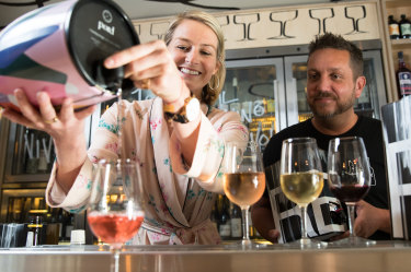 Wine cask connoisseurs: Chloe Oestreich, the founder of Pord, with James Hird, group sommelier at the Icebergs Group, at The Dolphin Hotel in Surry Hills.