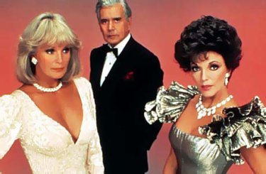 Linda Evans, as Krystle, John Forsythe as Blake and Joan Collins, who played Alexis, in '80s super soap Dynasty.