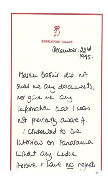 Princess Diana's handwritten note, which was uncovered by the BBC's latest investigation into the Panorama program.