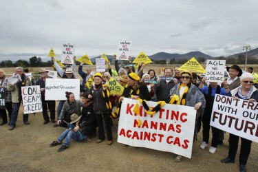 An anti-CSG protest in Gloucester: Support for energy developments has regularly triggered opposition from farmers and other local groups in NSW.