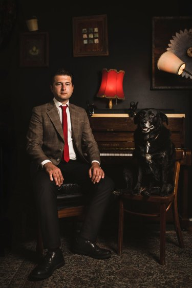 Jamila Toderas' portrait of Steven Bailey and his female dog, Bruce.