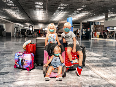 Mila, Max and Daisy Pope at Bodrum Airport, Turkey.