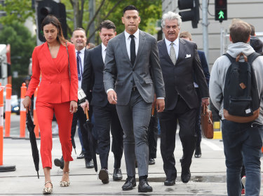 Israel Folau and his wife Maria arrive for mediation on Monday morning.