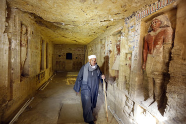 Mustafa Abdo, chief of excavation workers at a recently uncovered tomb.