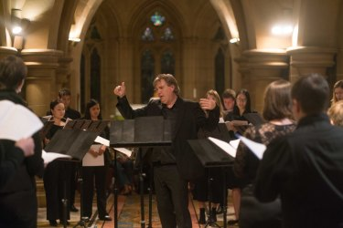 Antony Pitts leads the Song Company in St Mary's Crypt.