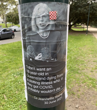 The image of Dr Jeannette Young and a quote from one of her media conferences earlier this year has been used in an anti-vax campaign in Melbourne.