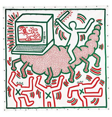 Keith Haring, Untitled 1983; vinyl paint on vinyl tarpaulin.