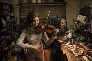 Cedar Newman plays a violin made for her by Harry Vatiliotis.