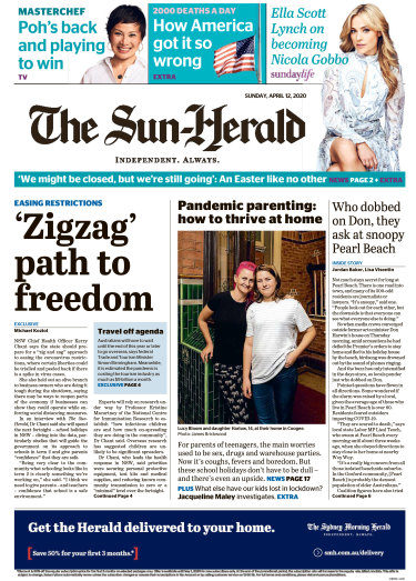 The front page of The Sun-Herald, April 12 2020.