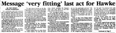 Tony Wright's report on Bob Hawke's last act as prime minister, from <i>The Canberra Times</i> of December 21, 1991.