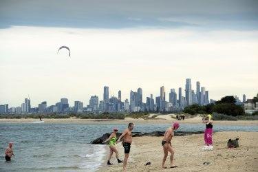 The last day of winter didn't deter these swimmers at Brighton Beach.