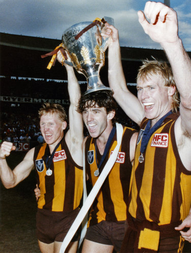 Andy Collins (far left) after the 1989 grand final.