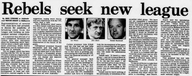 A report on the proposed rebel league that appeared in The Age on May 16, 1984.