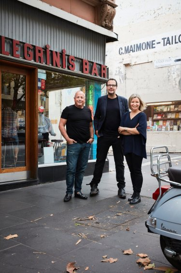 Chris Lucas with Sepia's Martin Benn and Vicki Wild, pictured in Melbourne, where they'll open a new restaurant next year.