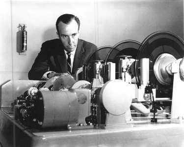 High-tech: Gordon Gow, the voice of  'George' the talking clock when it was mechanised in 1954.