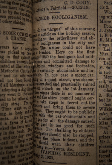 How the  Heidelberg News and Diamond Creek Chronicle reported the hooliganism in 1920.