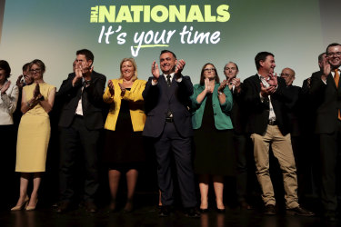 NSW Nationals leader and Deputy Premier John Barilaro (centre), on stage in February 2019 at the launch of the party's 2019 state election campaign.