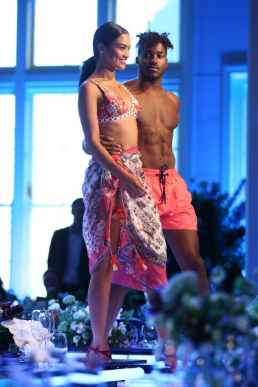 In love and in fashion ... Shanina Shaik and DJ Ruckus walk the runway during rehearsal ahead of the David Jones Spring Summer 2017 Collections Launch.