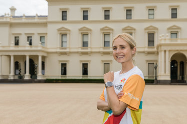 Actress Tessa James at Victoria's Government House before her run in the Gold Coast Commonwealth Games Queen's Baton Relay on Saturday.