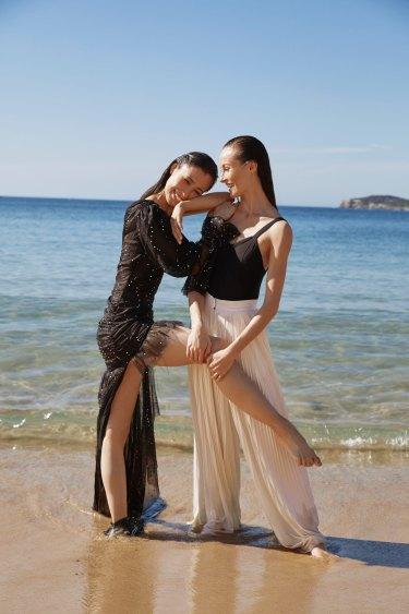 "Ako wears Aje x Australis Swarovski gown, POA. Amber wears Bloch ""Paradise"" leotard, $50. Chanel trousers, $3530."