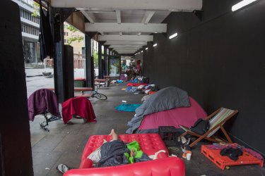 Homeless people in Martin Place in 2017.