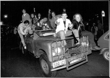 Revellers in George Street celebrate the win, September 23, 1993.