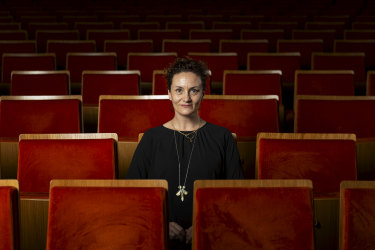 Arts Centre Melbourne CEO Claire Spencer in the empty Hamer Hall.