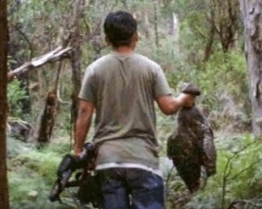 The Conservation Regulator is seeking information about two men allegedly involved in killing wildlife. This man was in possession of two bird species and a rifle and was aged in his late twenties to early thirties.