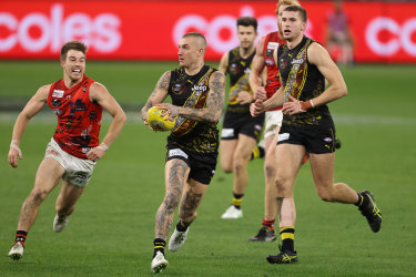 The Bombers' Dustin Martin in action.