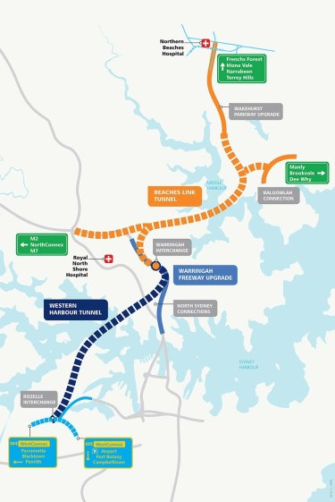 Proposed route of the Western Harbour Tunnel and Beaches Link.
