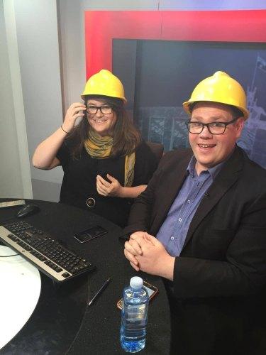 hosts Alice Workman and Rob Harris. Photo: James O'Doherty/Sky News